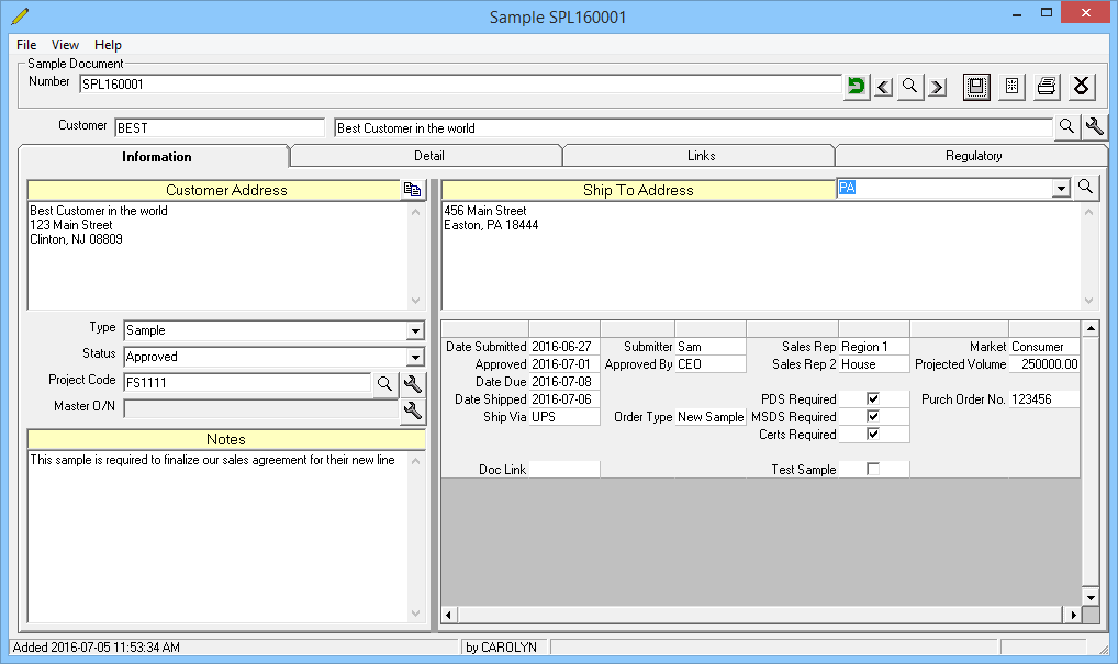sample manager screen 1
